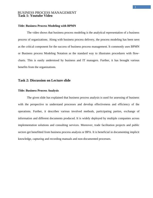 Business Process Management  -  Assignment