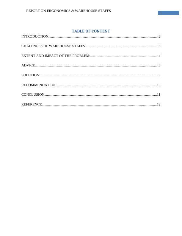 Report on Ergonomics and Warehouse Staffs