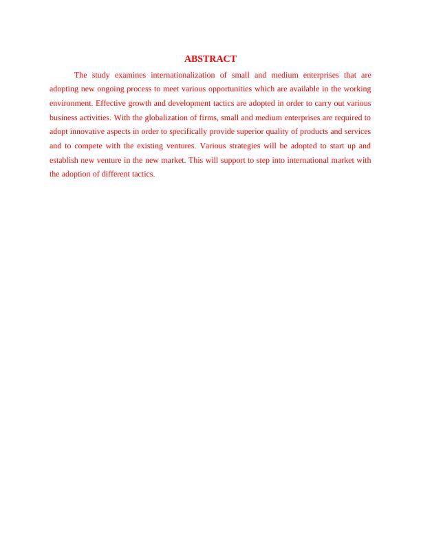 Internationalization of SME : Report