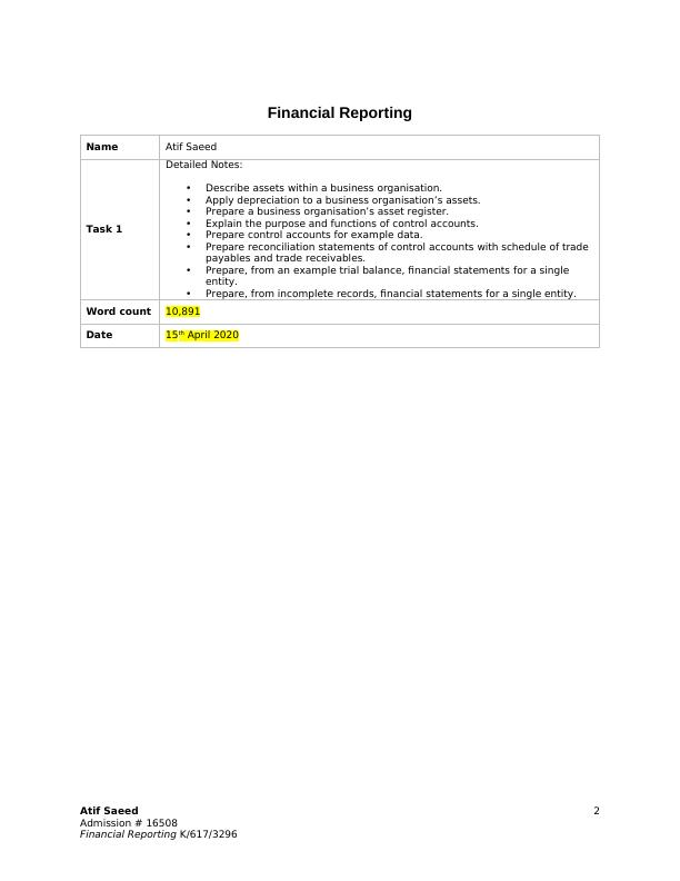 financial reporting Case Study