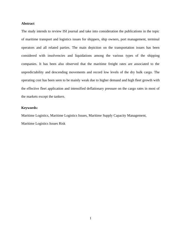 Maritime Transport and Logistics Assignment