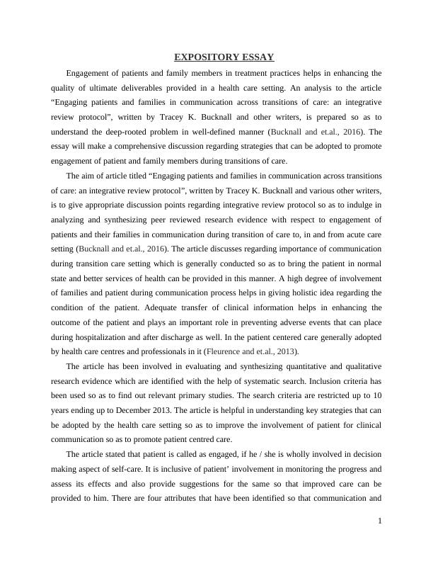Essay on Promote Engagement of Patient and Family Members in Transition of Care