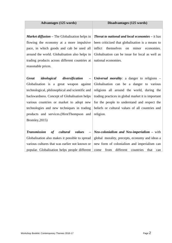 Report on Advantages and Disadvantages of Globalisation