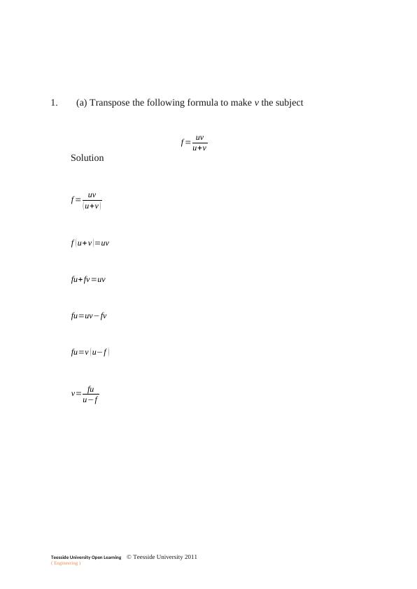 Analytical Methods for Engineers | Assignment