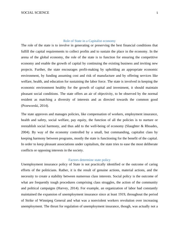 Social Science Role of State in a Capitalist Economy Paper