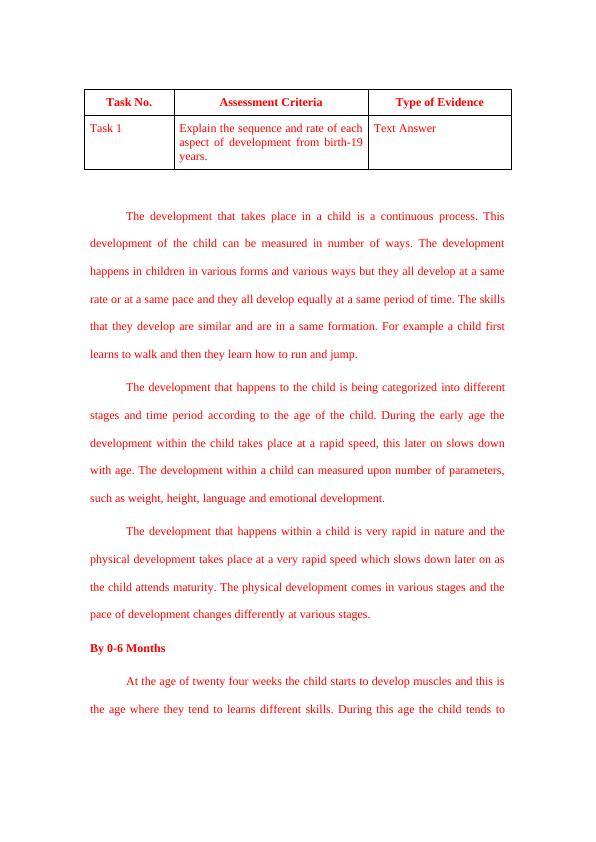 Essay on Development of a Child