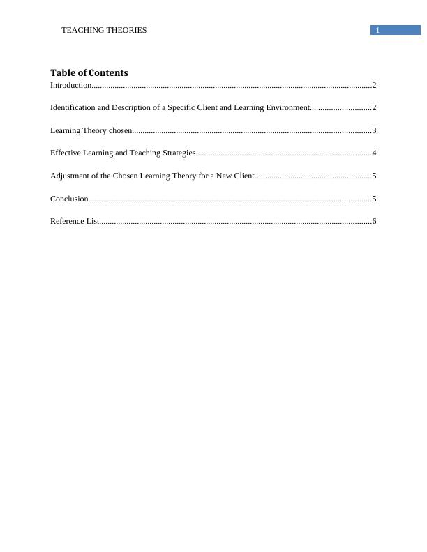 Report on Teaching Strategy and Theory