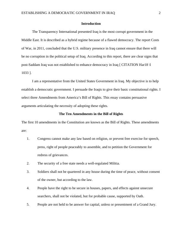 (Solved) Essay on Bill of Rights