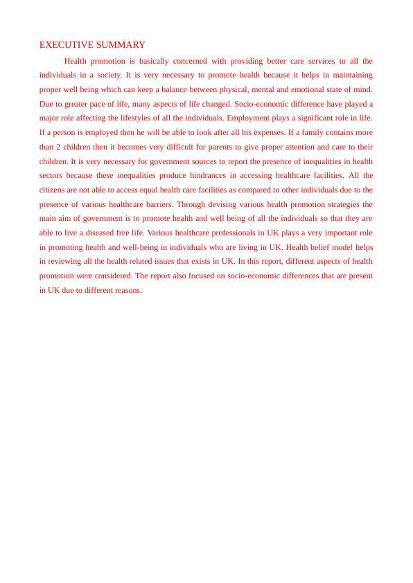Impact of Socio Economic Situation on Health Report