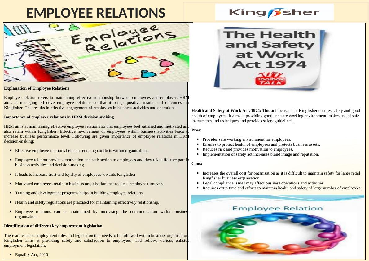 Explanation of Employee Relations: Assignment