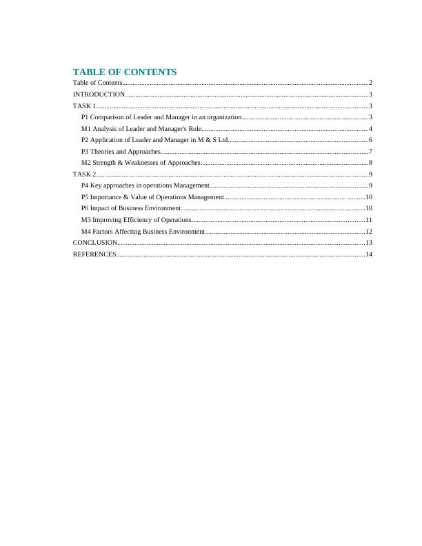 Management and Operations of M & S Ltd - Report
