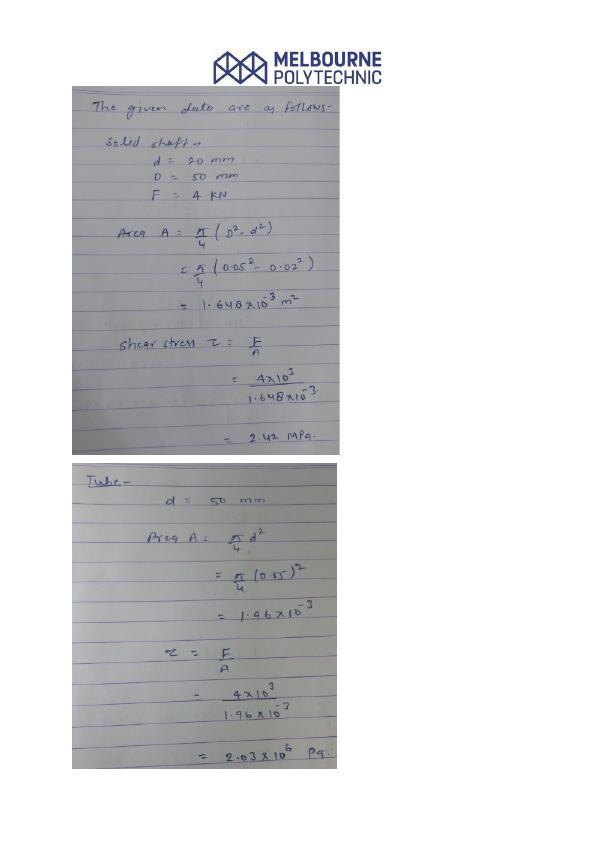 BET 201 Mechanics of Structure Assignment
