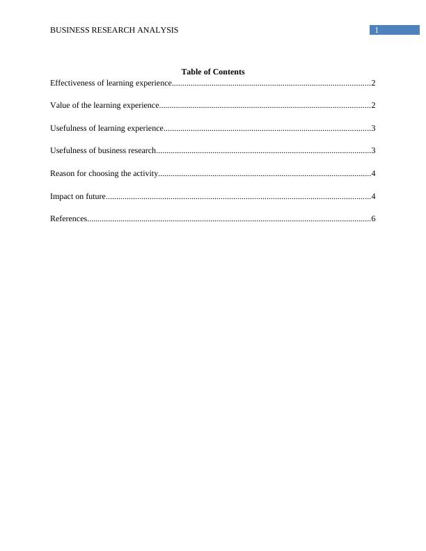 Business Research Analysis | Assignment