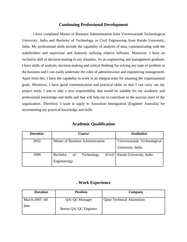 Assignment  Continuing Professional Development