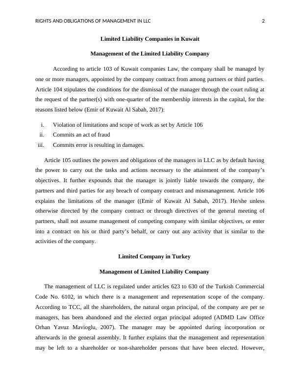 Rights and Obligations of Management in LLC