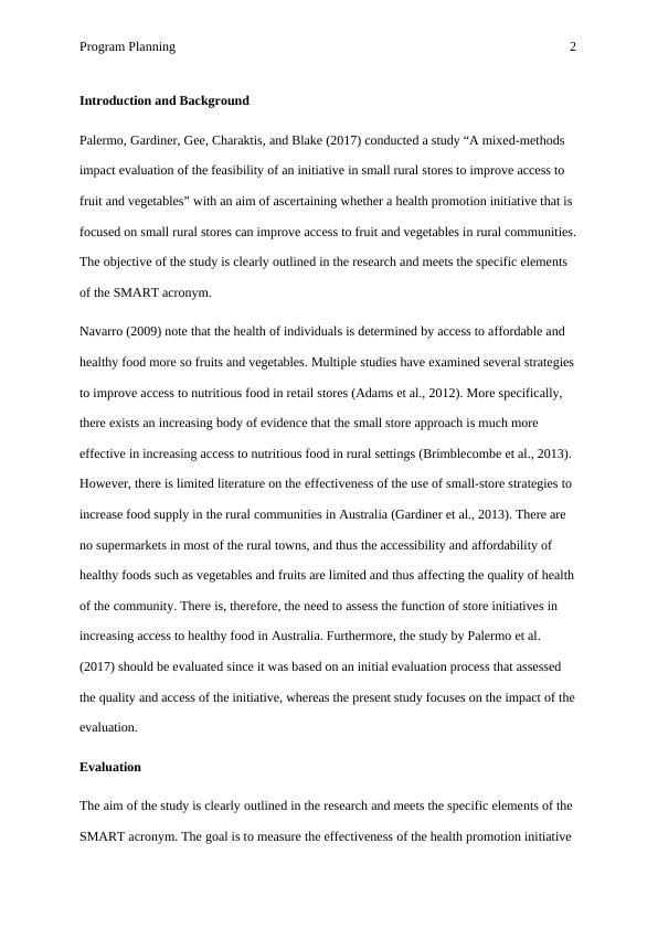 Program Planning   Assignment  PDF