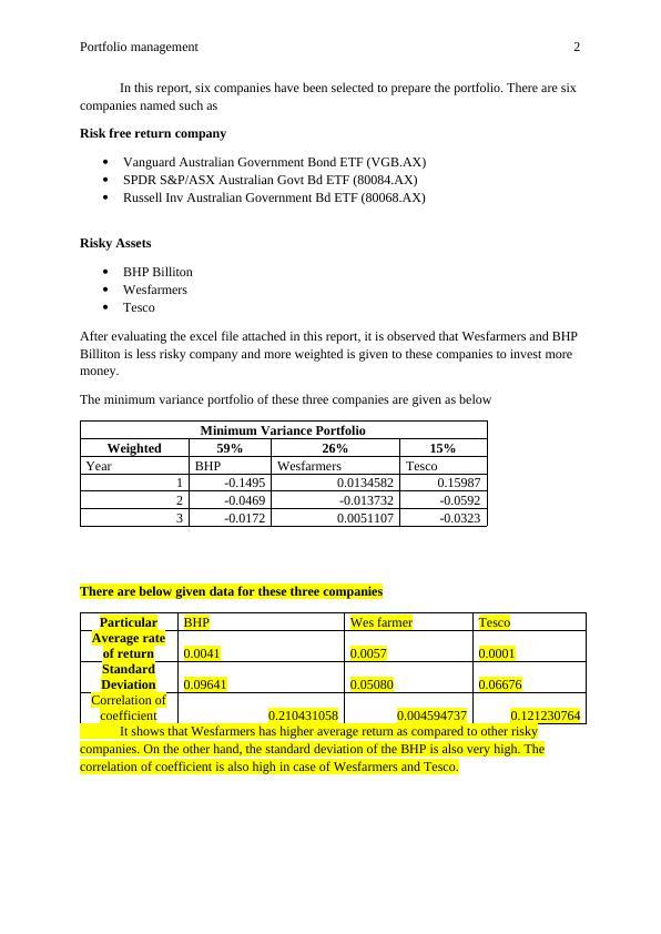 Portfolio Management Assignment : Tesco