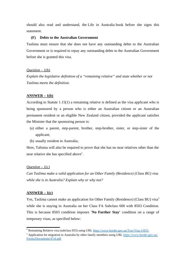 Australian Immigration Law Assignment