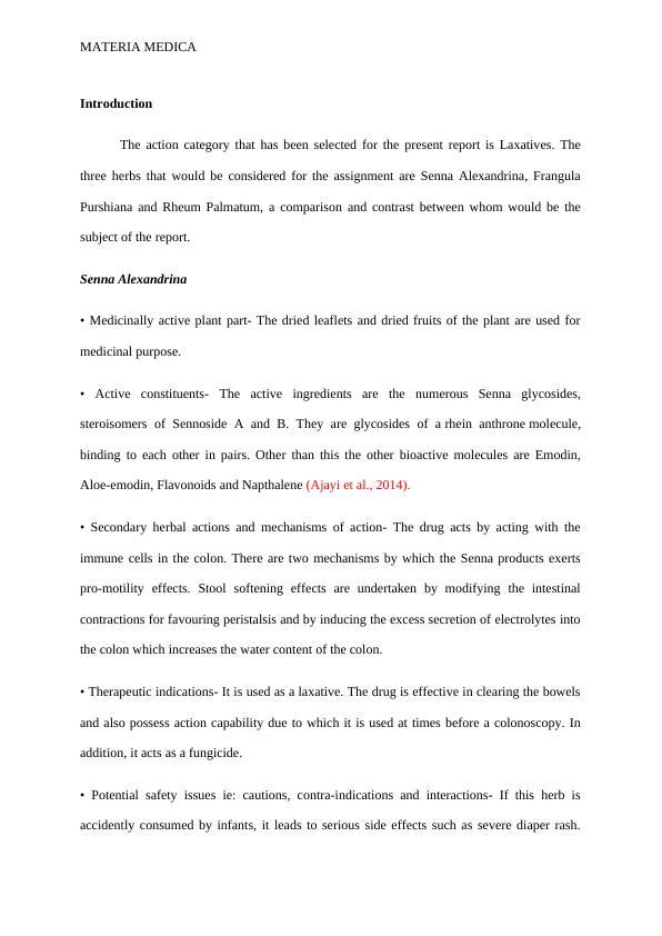 Report on Materia Medica
