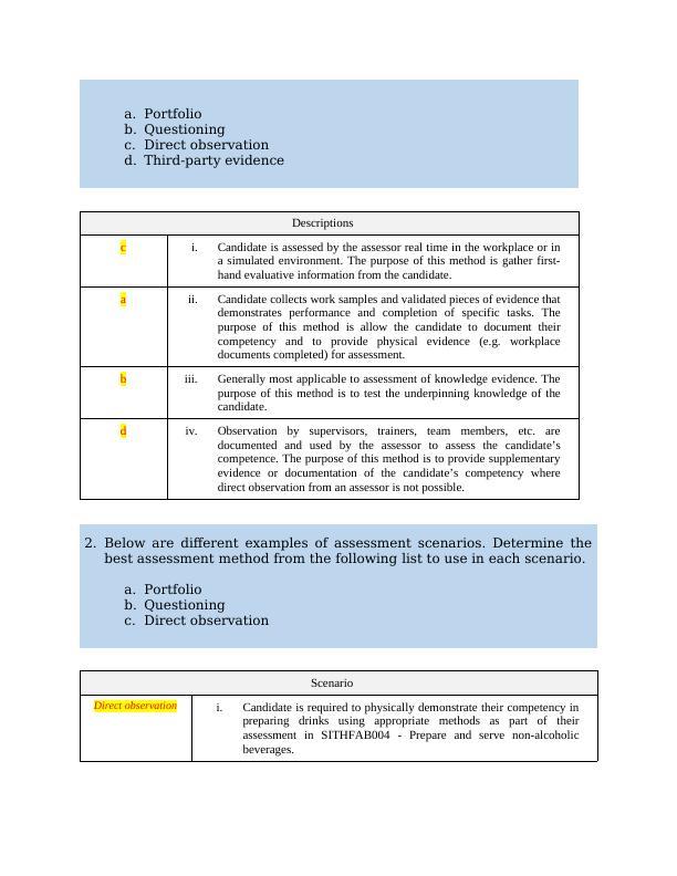 TAEASS402 - Assess competence
