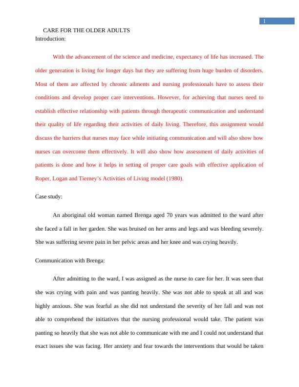 Care of the Older Person Assignment Sample