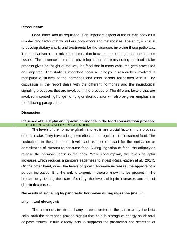 Food Intake and Its Regulation PDF
