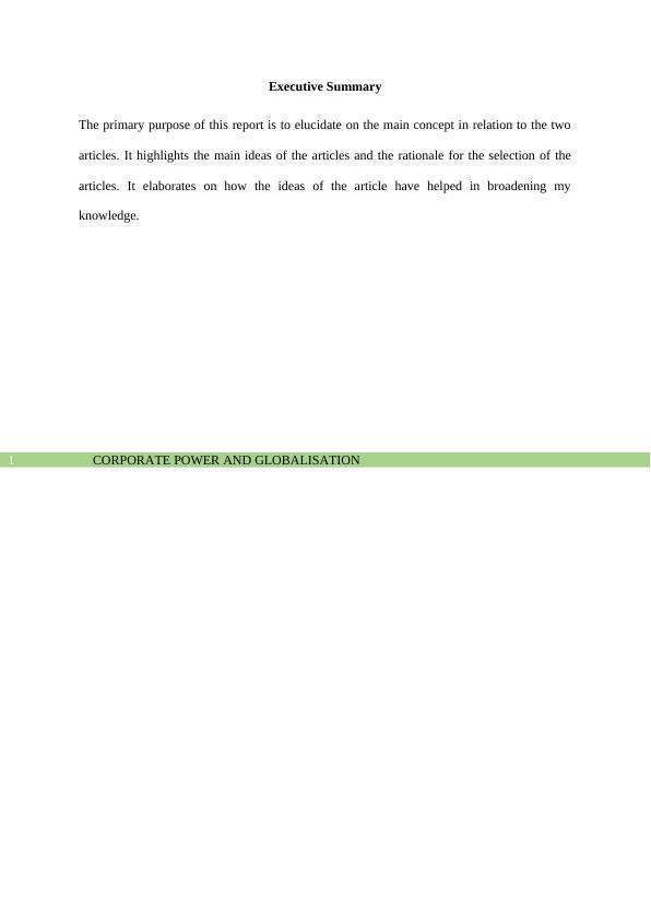 Corporate Power and Globalization Assignment PDF