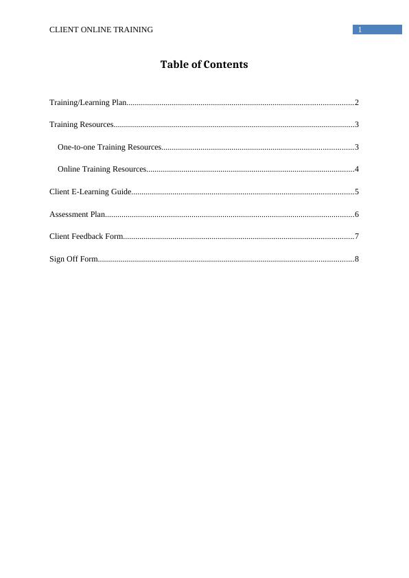 Report on Client Online Training