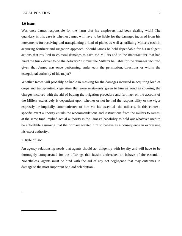 Case Study on Legal Position