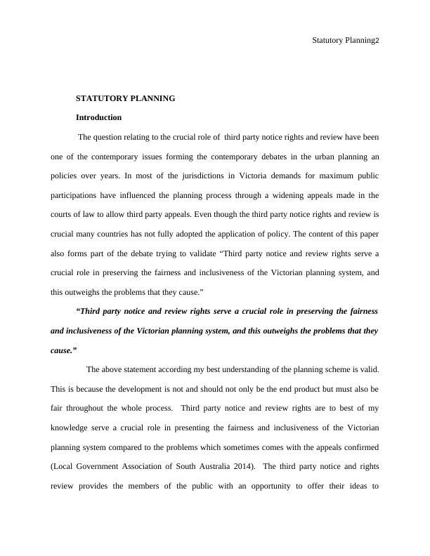Statutory Planning Report