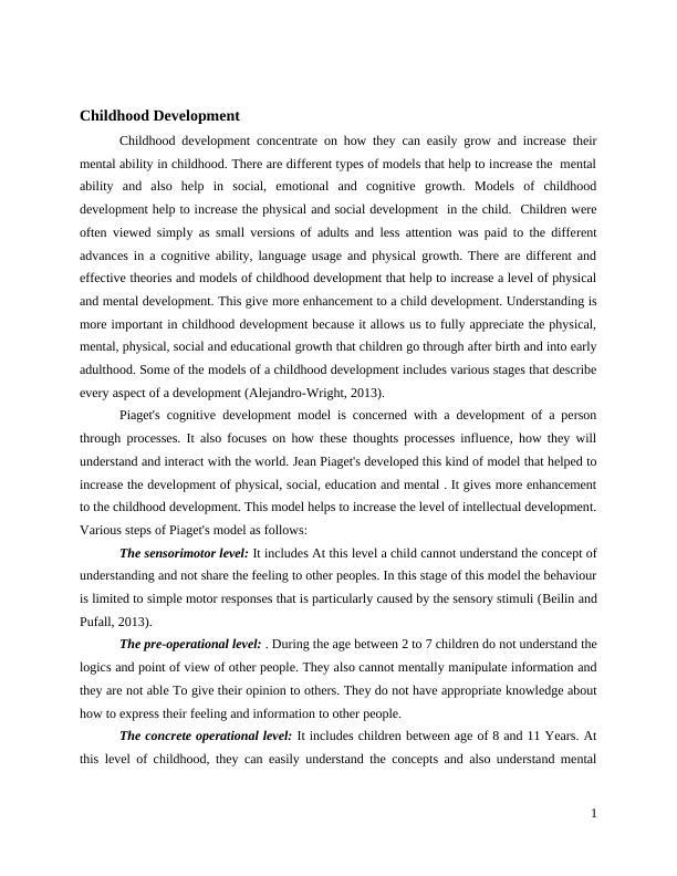 Child Development Assignment: Psychology Assignment