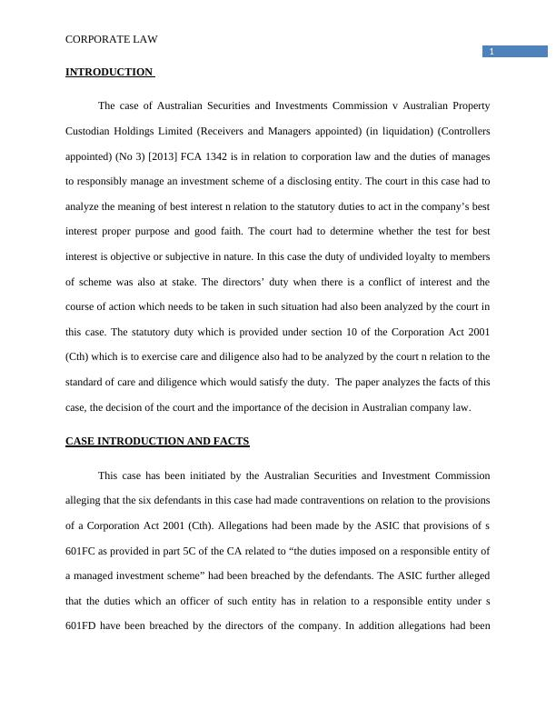 Corporate Law Assignment Sample