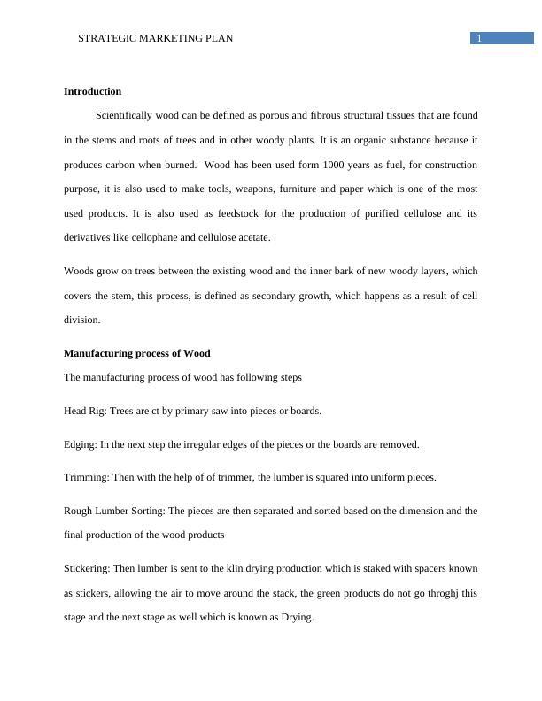 Report on Strategic Marketing Plan