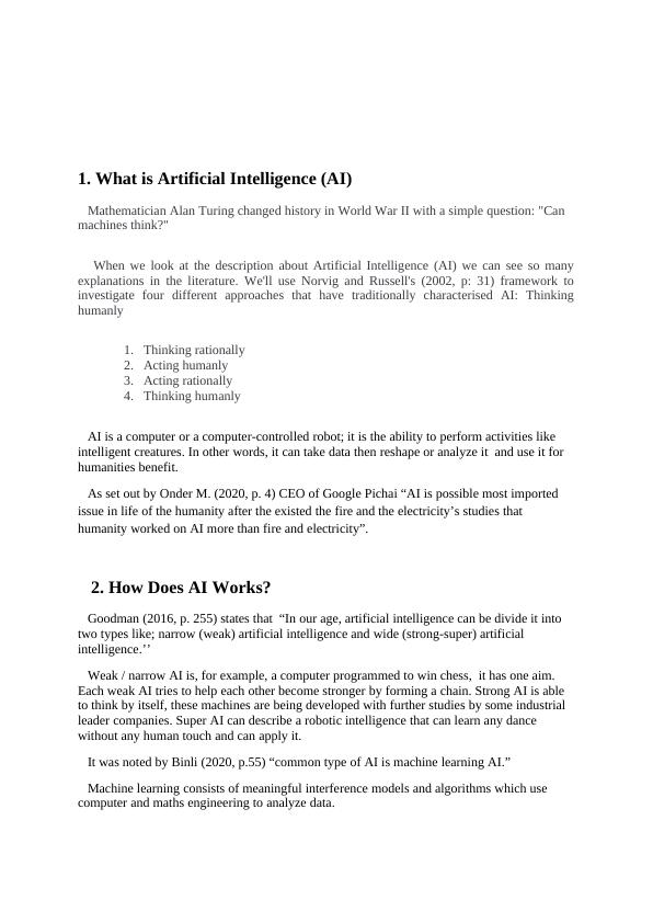 Artificial Intelligence (AI) Sample Assignment