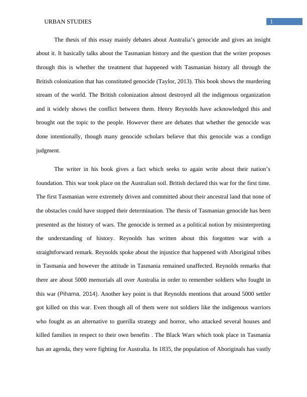 100958 Australia and the World | Urban Studies
