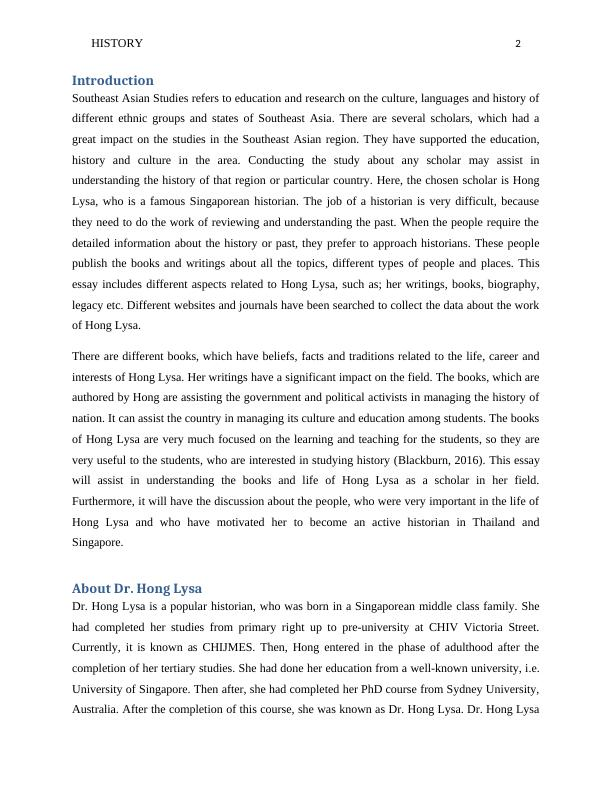 Essay on Books and Life of Hong Lysa