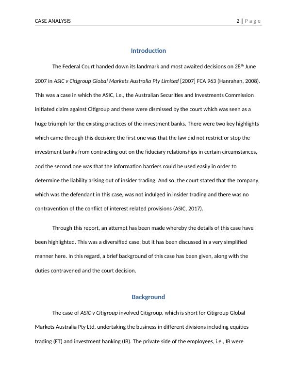 Corporate Law Assignment - ASIC v Citigroup Case Analysis