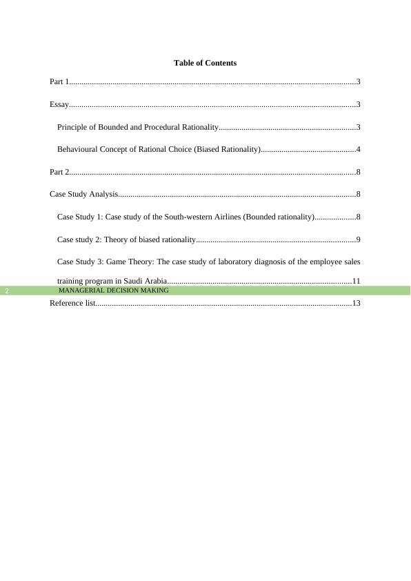 Managerial Decision Making  - Assignment