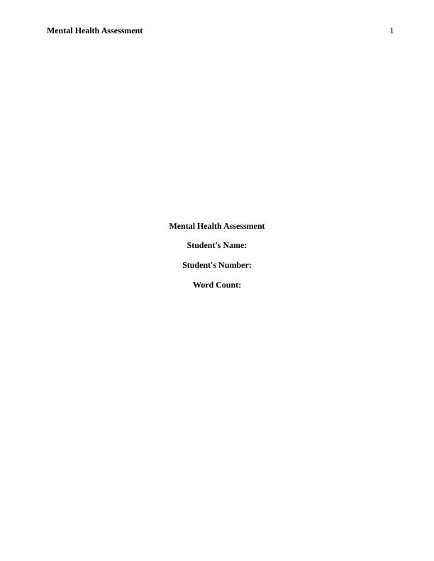 Nurse S Role In Mental Health Assessment Essay