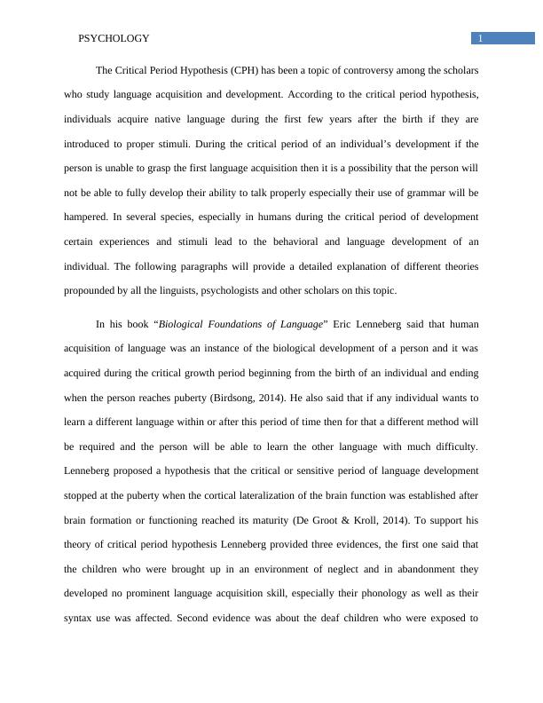Psychology Assignment Critical Period Hypothesis (CPH)