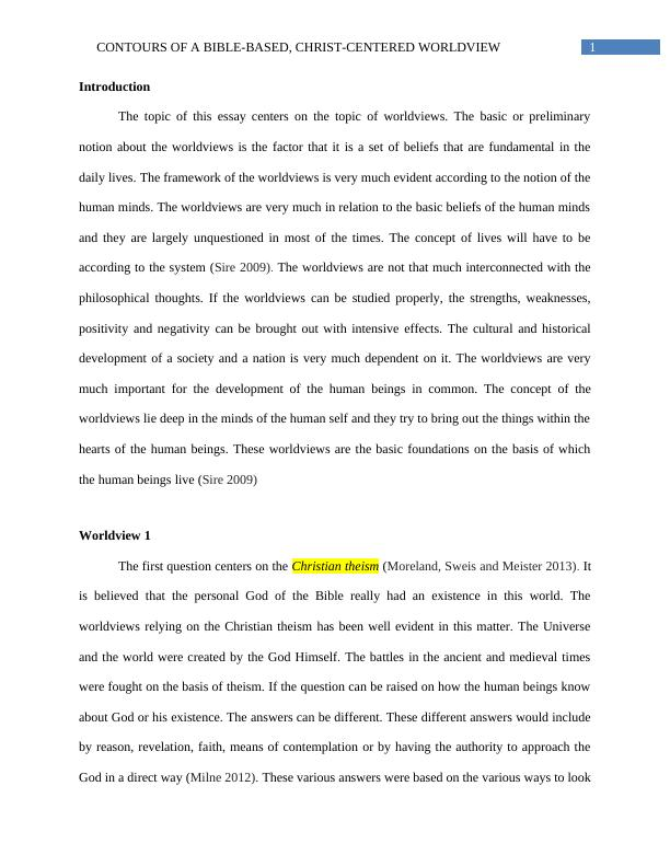 Essay on Christ Centered Worldview
