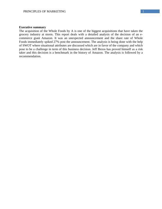 Report on Principles of Marketing: Amazon