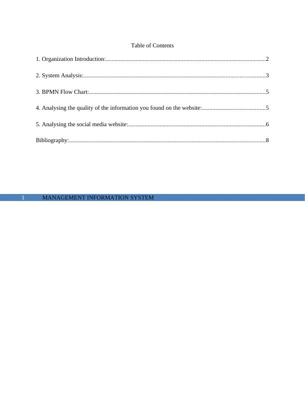 Management Information System -  Assignment