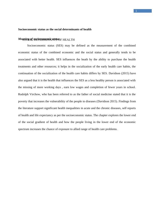 Social Determinants of Health: Assignment