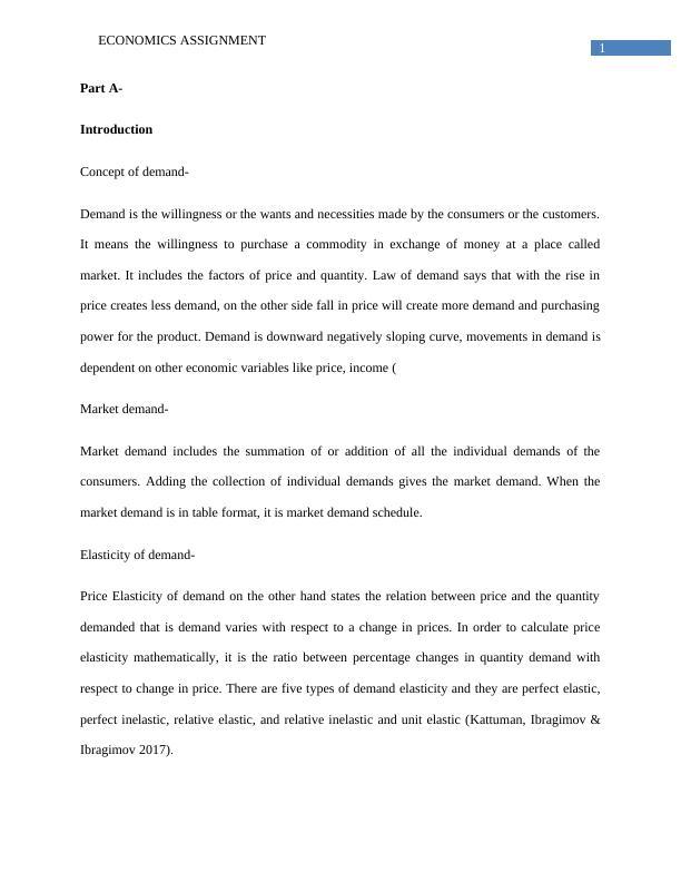 Economics Assignment | Concept Of Demand
