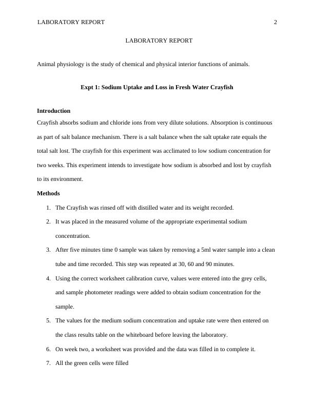 (Solved) Animal Physiology - PDF