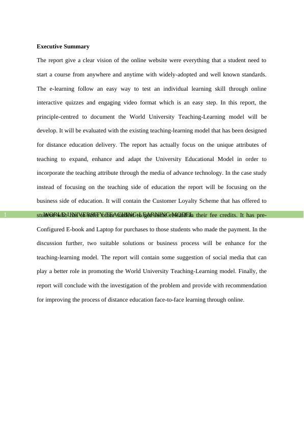 World University Teaching-Learning Model - Case Study