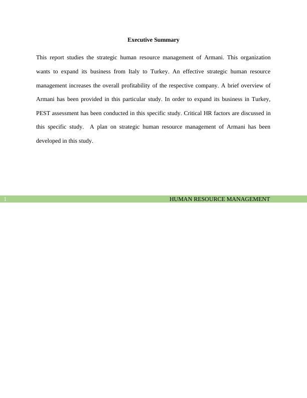 Strategic Human Resource Management of Armani