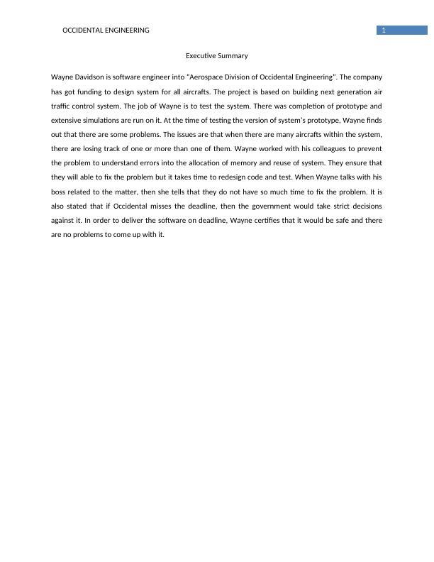 Occidental Engineering Case Study