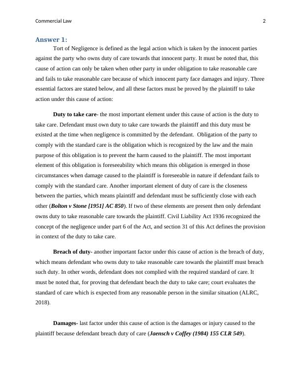 Commercial law  -  Sample Assignment